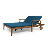 Samantha Double Chaise Lounge for Yard and Patio, Acacia Wood Frame