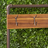 Carlos Outdoor Industrial Acacia and Iron Bench with Shelf and Coat Hooks