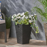 Hedy Garden Urn Planter, Square, Tapered, Riveted, Lightweight Concrete