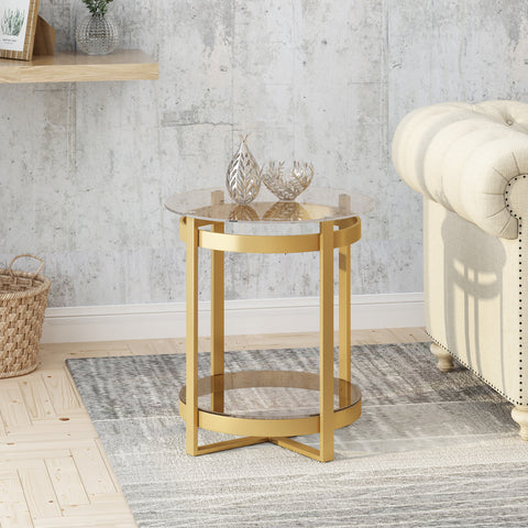 Tate Tempered Glass Coffee Table  Round  Modern  Brass Finish