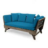 Othello Outdoor Acacia Wood Expandable Daybed with Water Resistant Cushions