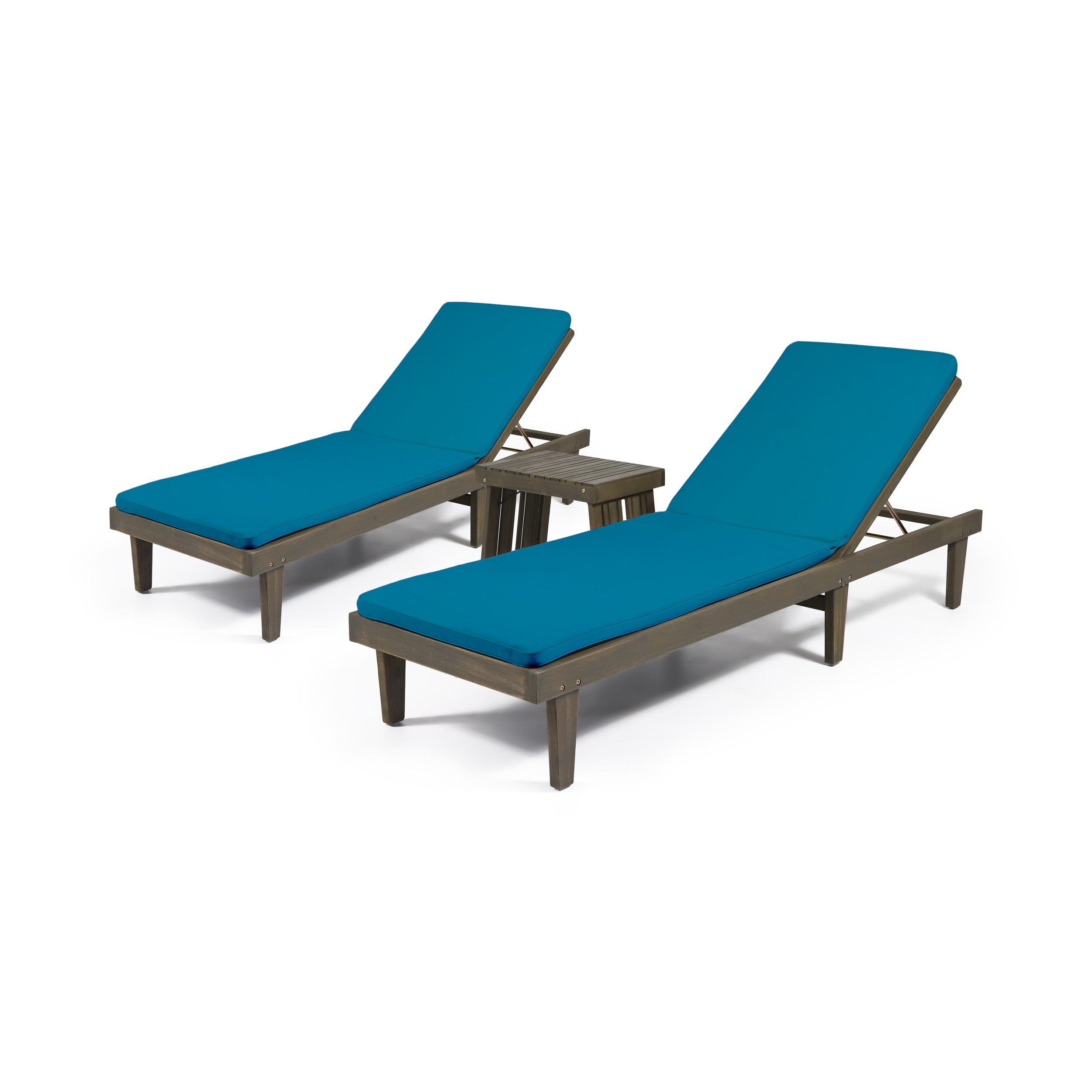 Addisyn Outdoor Acacia Wood 3 Piece Chaise Lounge Set with Water Resistant Cushions GrayCream