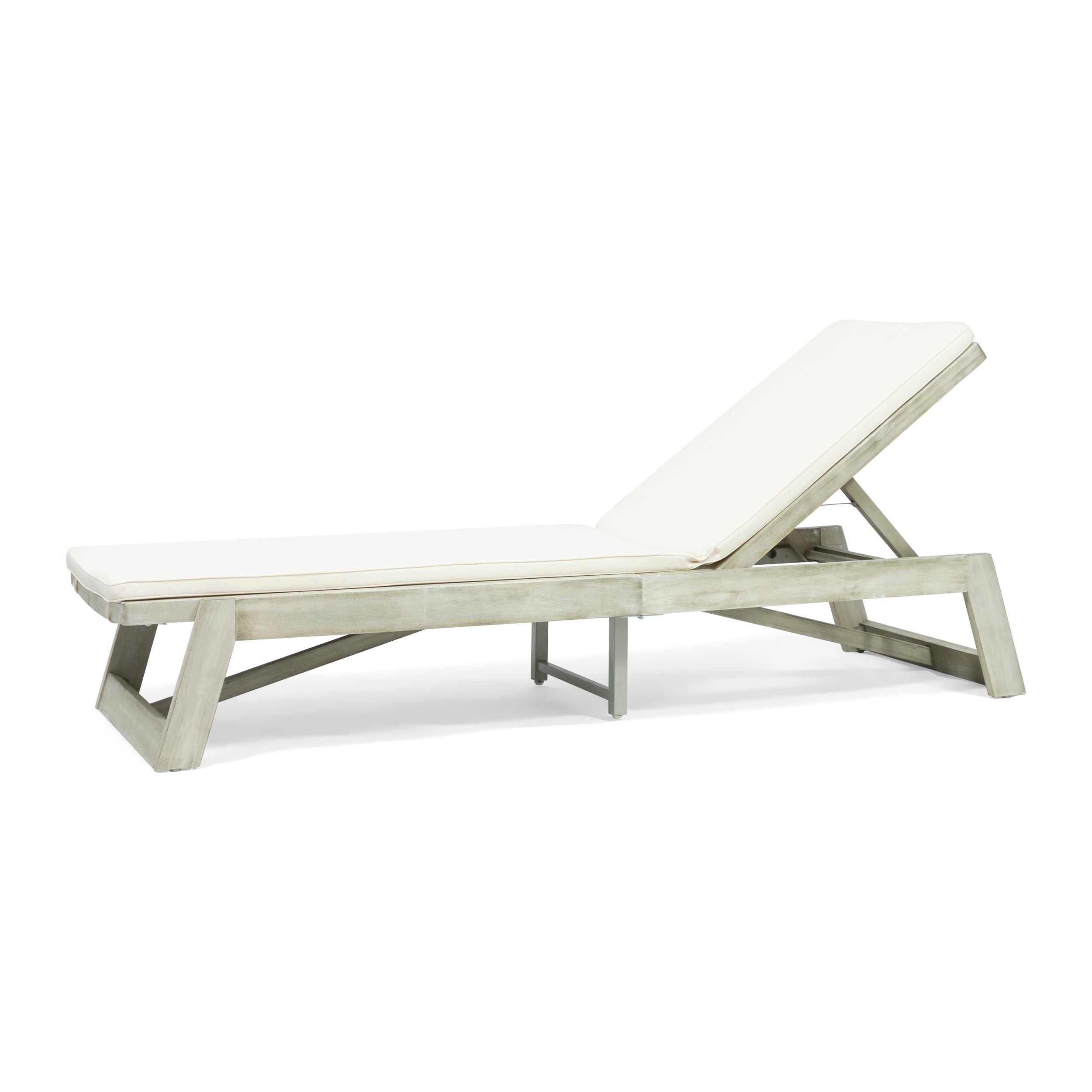 Adelaide Outdoor Acacia Wood Chaise Lounge and Cushion Set
