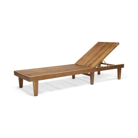Addisyn Outdoor Wooden Chaise Lounge