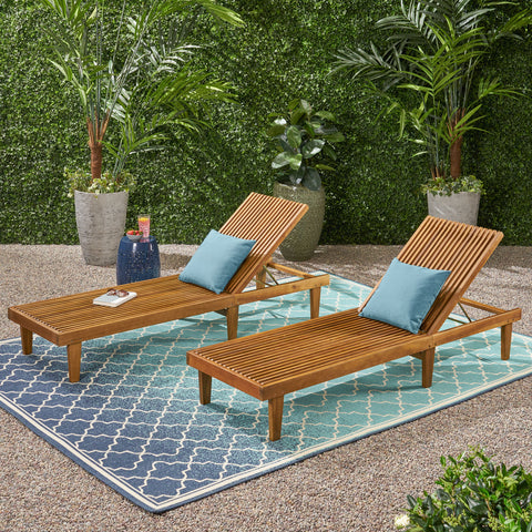 Addisyn Outdoor Wooden Chaise Lounge (Set of 2)