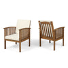Ray Acacia Outdoor Acacia Wood Club Chairs w/ Cushions