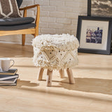 Mosiac Handcrafted Boho Fabric Stool with Metal Accents