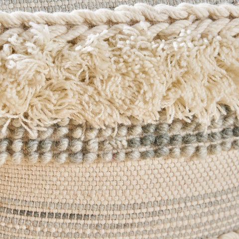 Curry Boho Wool Pouf, Ivory and Gray
