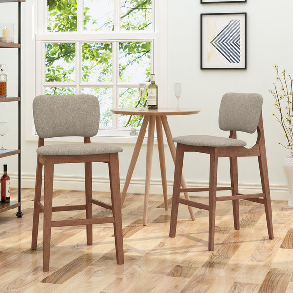 Luella 42 Quot Wooden Bar Chair With Fabric Seats Set Of 2