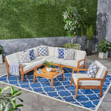 Amaryllis Sectional Sofa Set for Patio  Acacia Wood with Cushions  5-Piece Sectional with Club Chair and Coffee Table