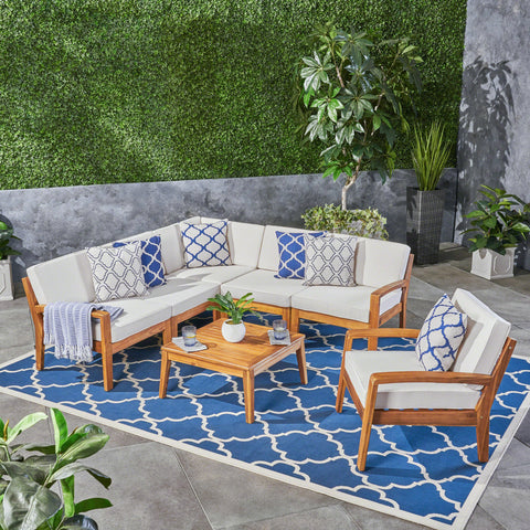 Amaryllis Outdoor Acacia Wood 6 Seater Sectional Sofa and Club Chair Set with Coffee Table