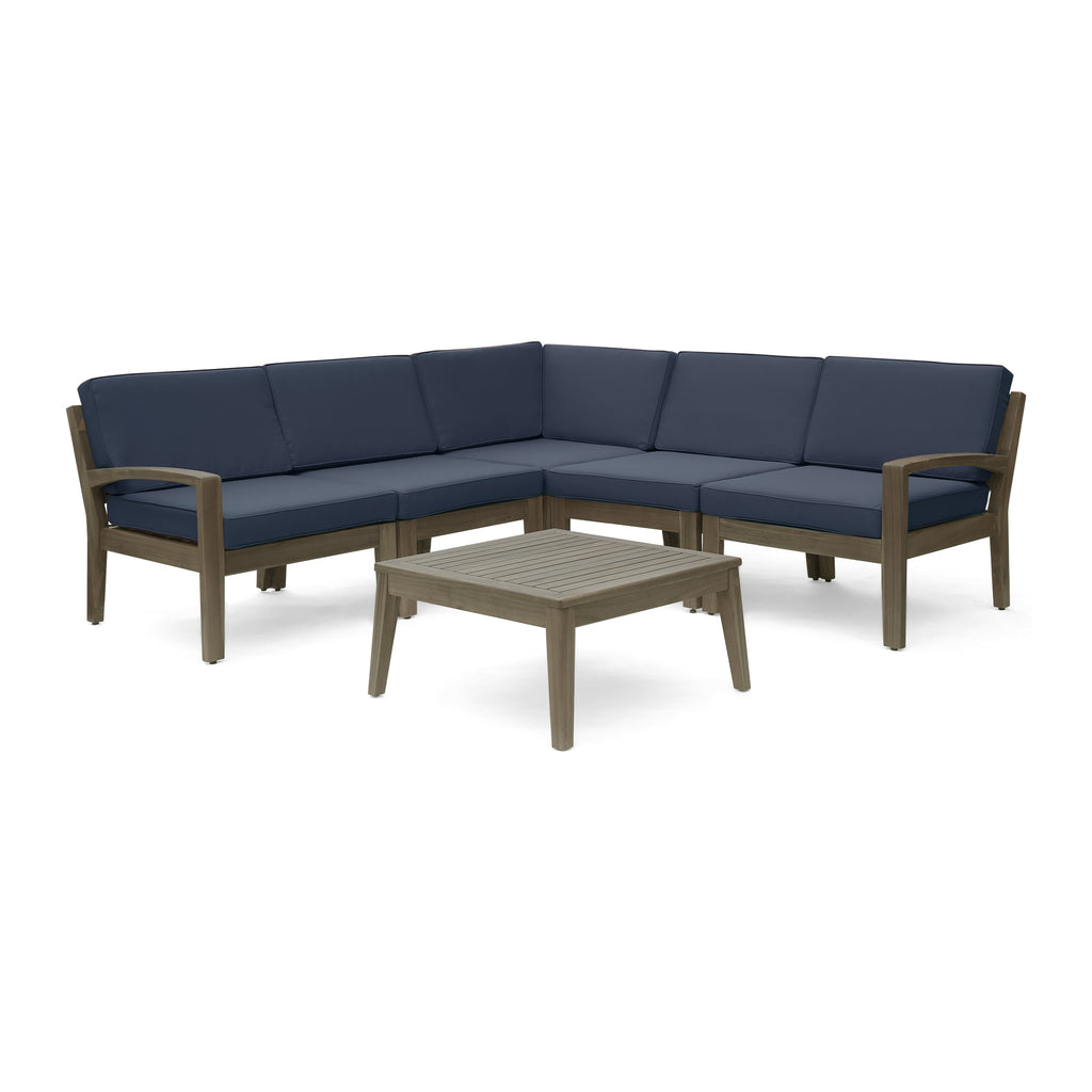 Ray Sectional Sofa Set for Patio Acacia Wood with Cushions 5-Piece  Sectional with Coffee Table Gray and Dark Gray