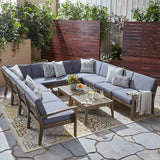 Roy Sectional Sofa Set for Patio | Acacia Wood with Cushions | 10-Piece Sectional with Two Coffee Tables | Gray and Dark Gray