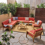 Madeline Sectional Sofa Set for Patio, Acacia Wood with Cushions, 7-Piece Sectional with Coffee Table and Club Chairs