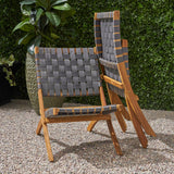 Riley Outdoor Acacia Wood Foldable Chairs (Set of 2), Brown Patina and Gray Straps