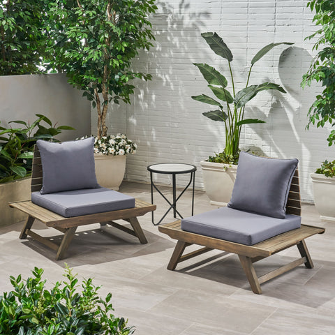 Kailee Outdoor Wooden Club Chairs with Cushions (Set of 2), Dark Gray and Gray Finish