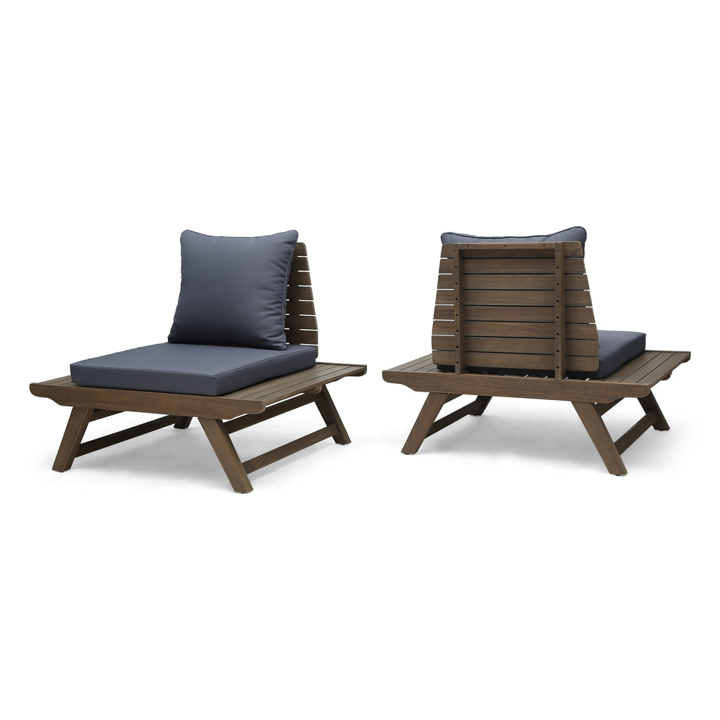 Fantastic Kailee Outdoor Wooden Club Chairs With Cushions Set Of 2 Dark Gray And Gray Finish Evergreenethics Interior Chair Design Evergreenethicsorg