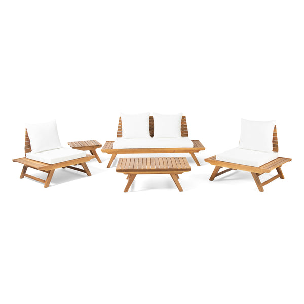Kaiya Outdoor Acacia Wood 4 Seater Chat Set with Side Table and Coffee Table