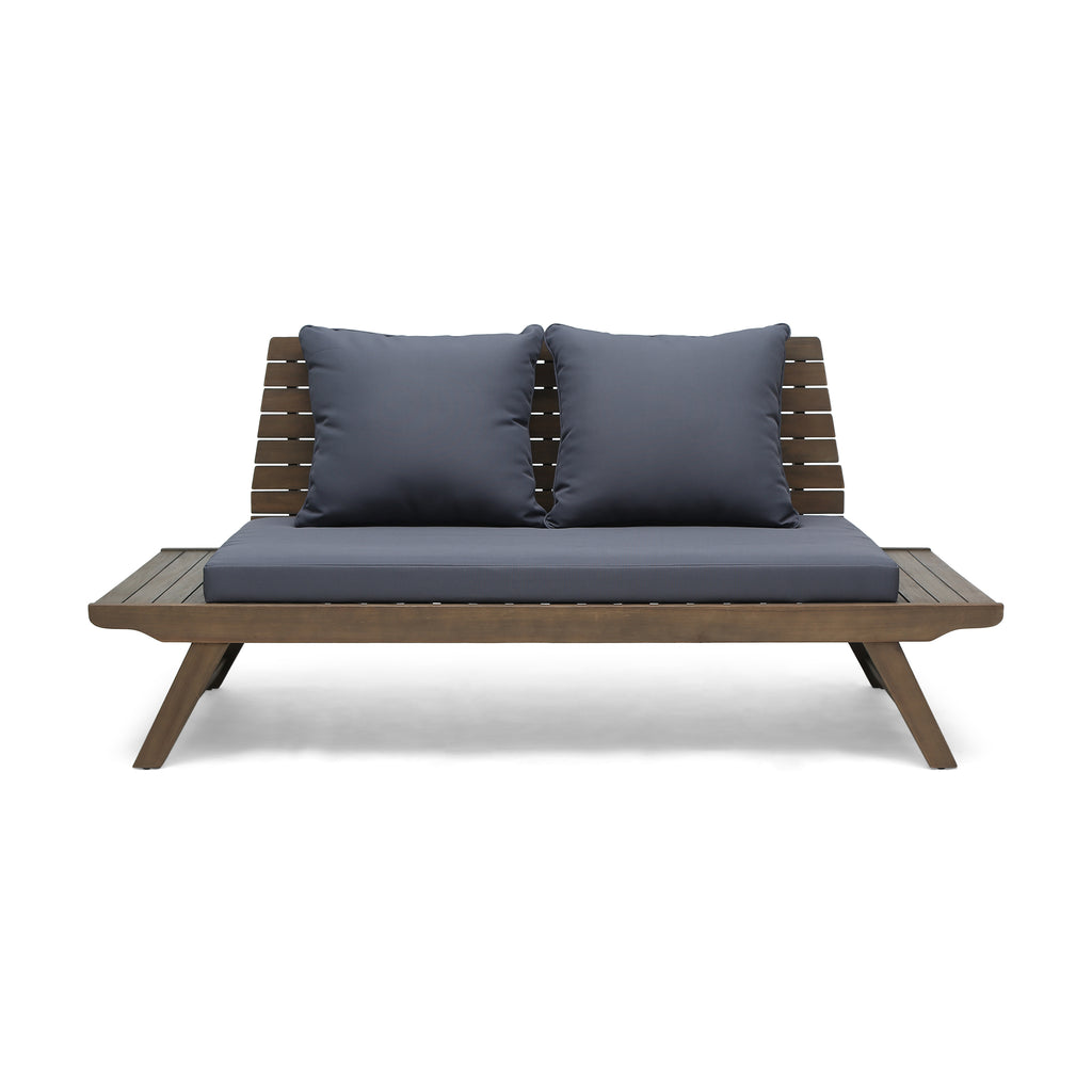 Superb Kailee Outdoor Wooden Loveseat With Cushions Dark Gray And Gray Finish Alphanode Cool Chair Designs And Ideas Alphanodeonline
