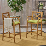 Logan Outdoor Acacia Wood Barstool (set of 2)