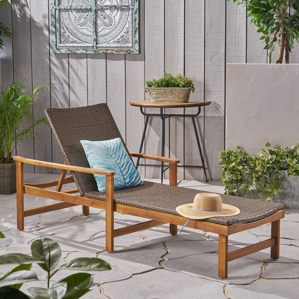 Kyle Outdoor Rustic Acacia Wood Chaise Lounge with Wicker Seating
