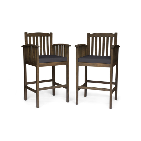 Grace Outdoor Acacia Barstools, Gray Finish and Dark (Set of 2)