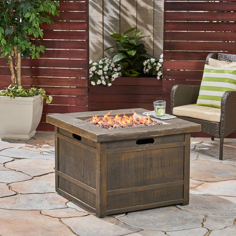 Land Backyard Fire Pit  32-inch by 32-inch  Gas-Burning  Lightweight Concrete  Natural Wood Finish