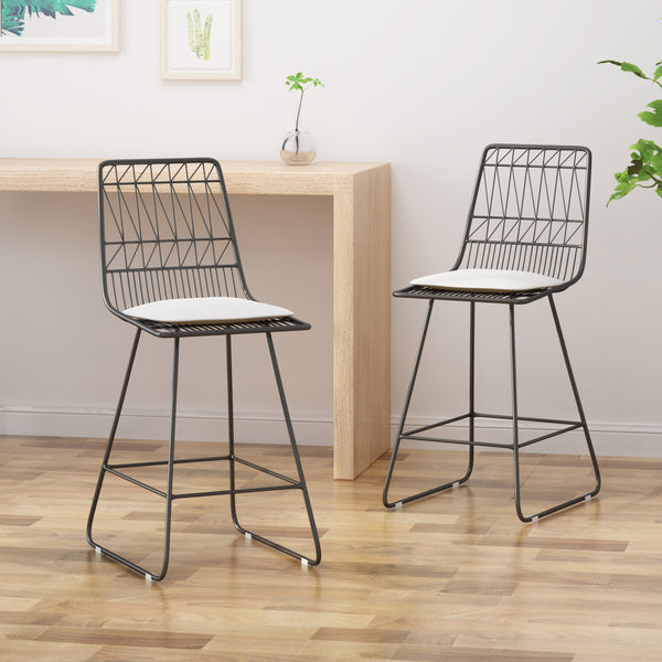 "Lilith Counter Stools, 26"" Seats, Modern, Geometric, Gray Iron Frames with Ivory Cushion (Set of 2)"
