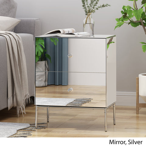 Althea Modern Mirrored Two Drawer Cabinet
