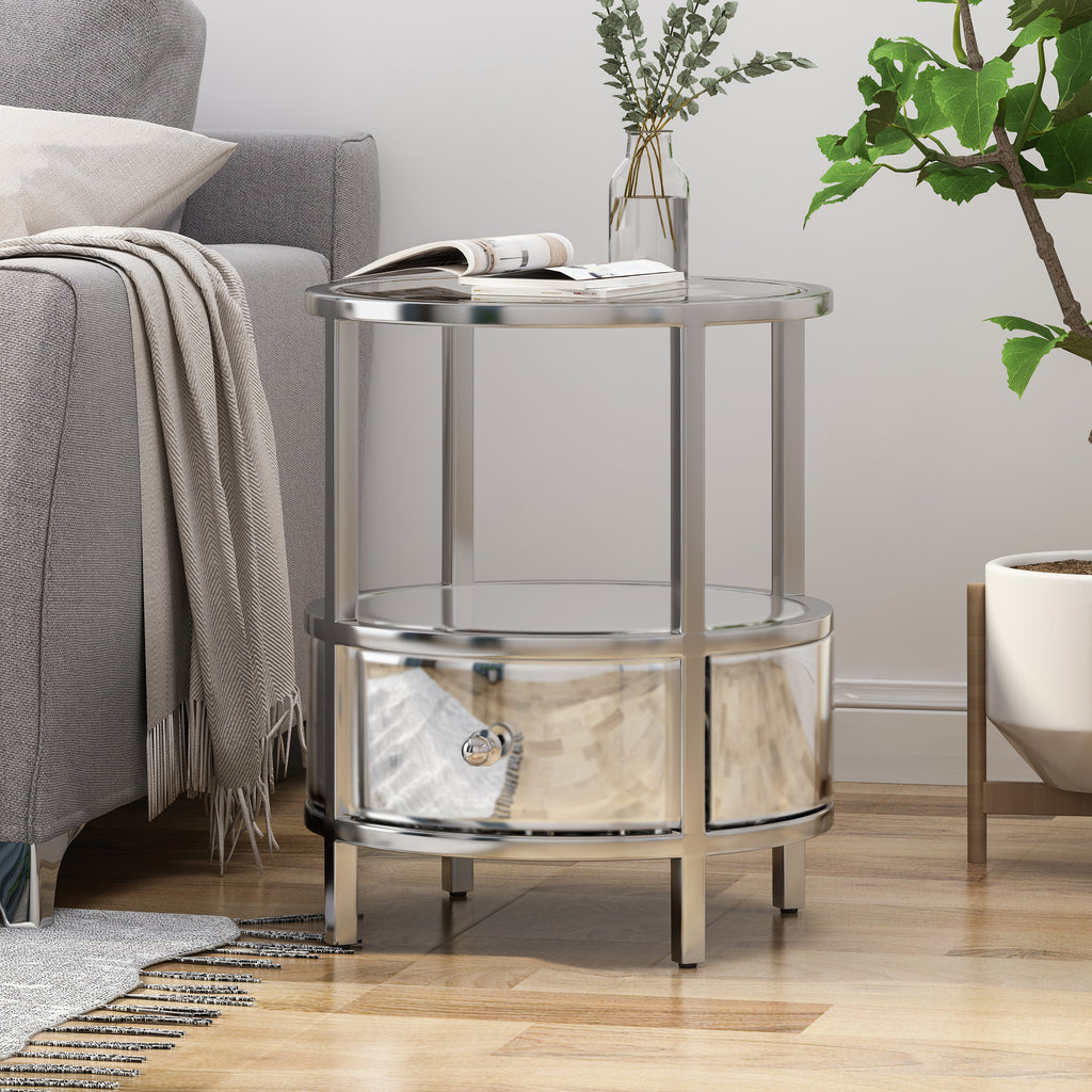 Picture of: Celina Modern Round End Table With Tempered Glass Drawers And Stainles Gdfstudio