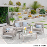 Booth Outdoor 4-Seater Aluminum Chat Set with Tempered Glass-Topped Coffee Table