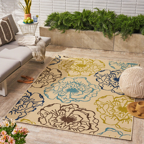 Damaris Outdoor Floral 5 x 8 Area Rug, Ivory and Multicolored