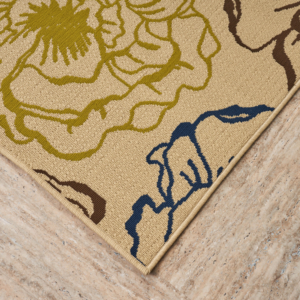 Damaris Outdoor Floral 5 X 8 Area Rug Ivory And Multicolored Gdfstudio