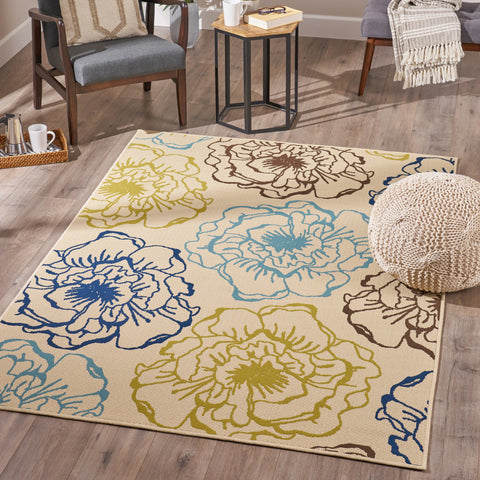 Joe Indoor Floral 5 x 8 Area Rug, Ivory and Green