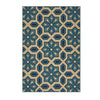 Jacobs Outdoor Geometric Floral Ivory and Blue Rectangular Area Rug