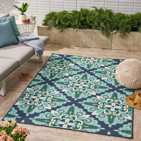 Sage Outdoor Floral Area Rug