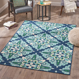 Keith Indoor Floral  Area Rug, Blue and Green
