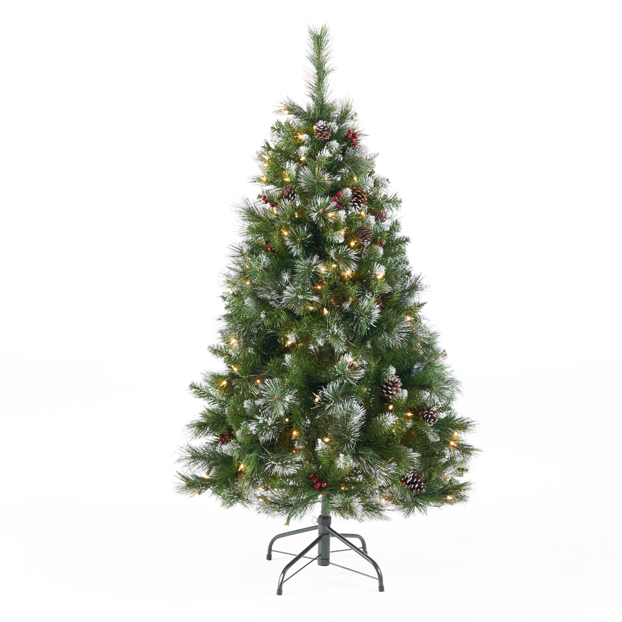 45 foot Mixed Spruce Hinged Artificial Christmas Tree with Glitter Branches Red Berries and Pinecones Clear Lights