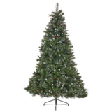 7.5-foot Mixed Spruce Pre-Lit or Unlit Hinged Artificial Christmas Tree with Glitter Branches, Red Berries and Pinecones
