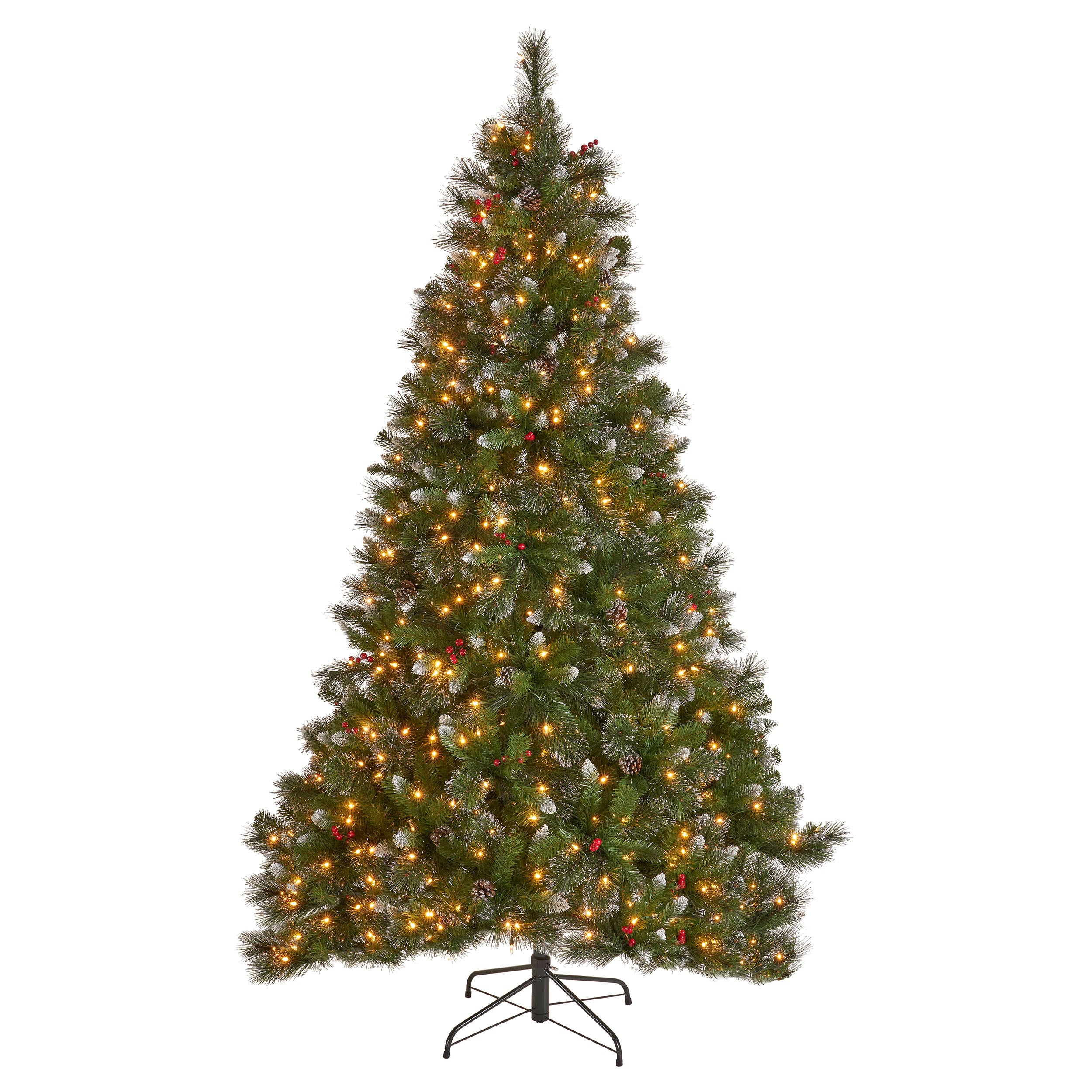 9 foot Mixed Spruce Hinged Artificial Christmas Tree with Glitter Branches Red Berries and Pinecones Clear Lights
