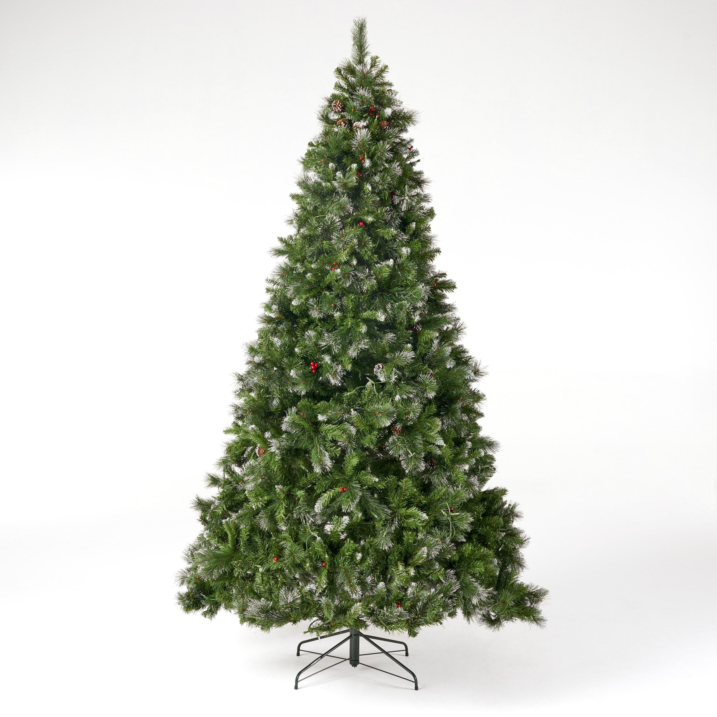 9 foot Mixed Spruce Pre Lit Clear LED Hinged Artificial Christmas Tree with Glitter Branches Default Title