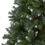 9-foot Mixed Spruce Pre-lit or Unlit Hinged Artificial Christmas Tree with Glitter Branches, Red Berries and Pinecones