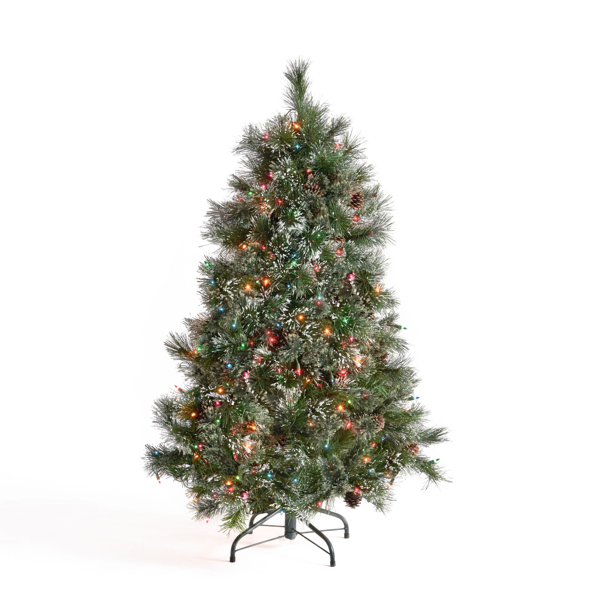 45 foot Cashmere Pine and Mixed Needles Hinged Artificial Christmas Tree with Snowy Branches and Pinecones Clear Lights