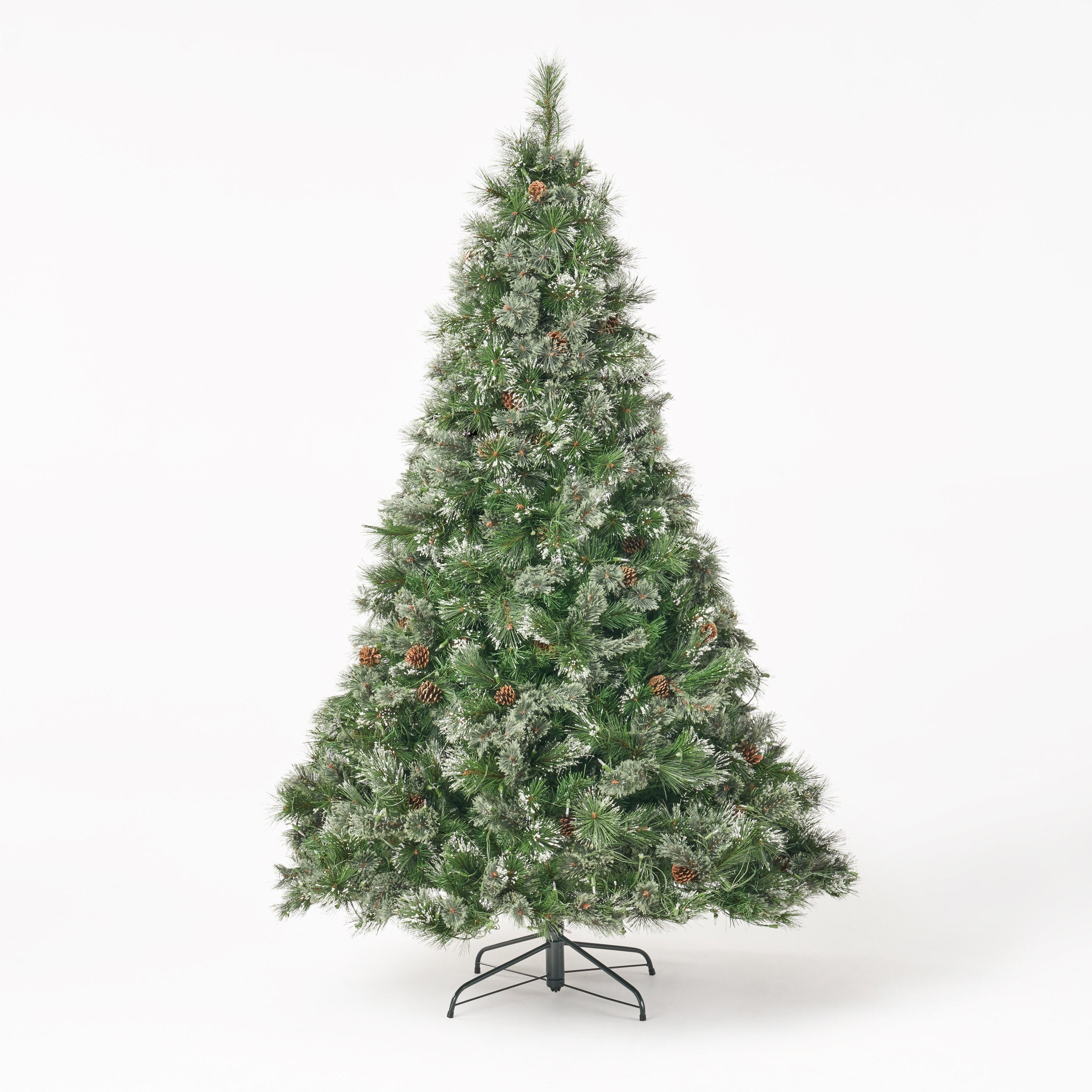 7 foot Cashmere Pine Pre Lit Artificial Christmas Tree with Snowy Branches and Pinecones Clear LED