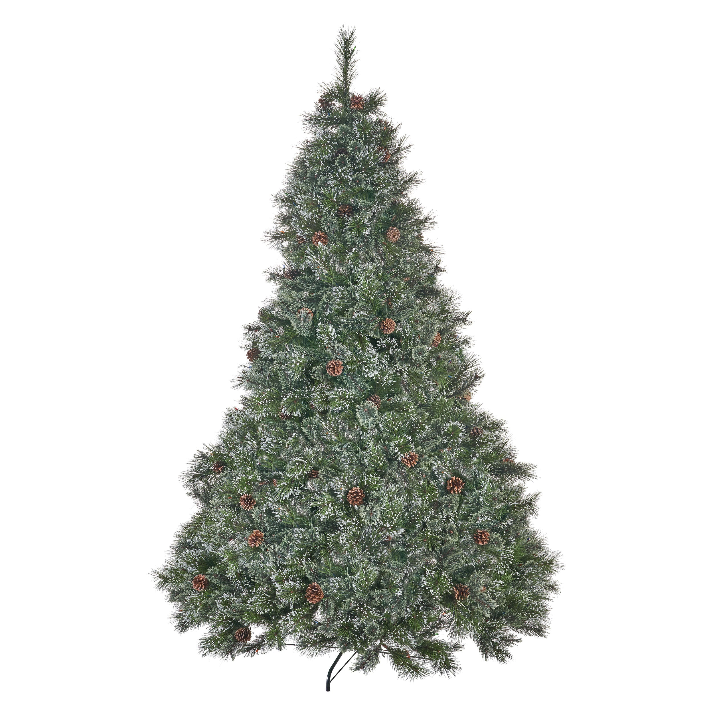 7 foot Cashmere Pine and Mixed Needles Hinged Artificial Christmas Tree with Snowy Branches and Pinecones Multicolor Lights
