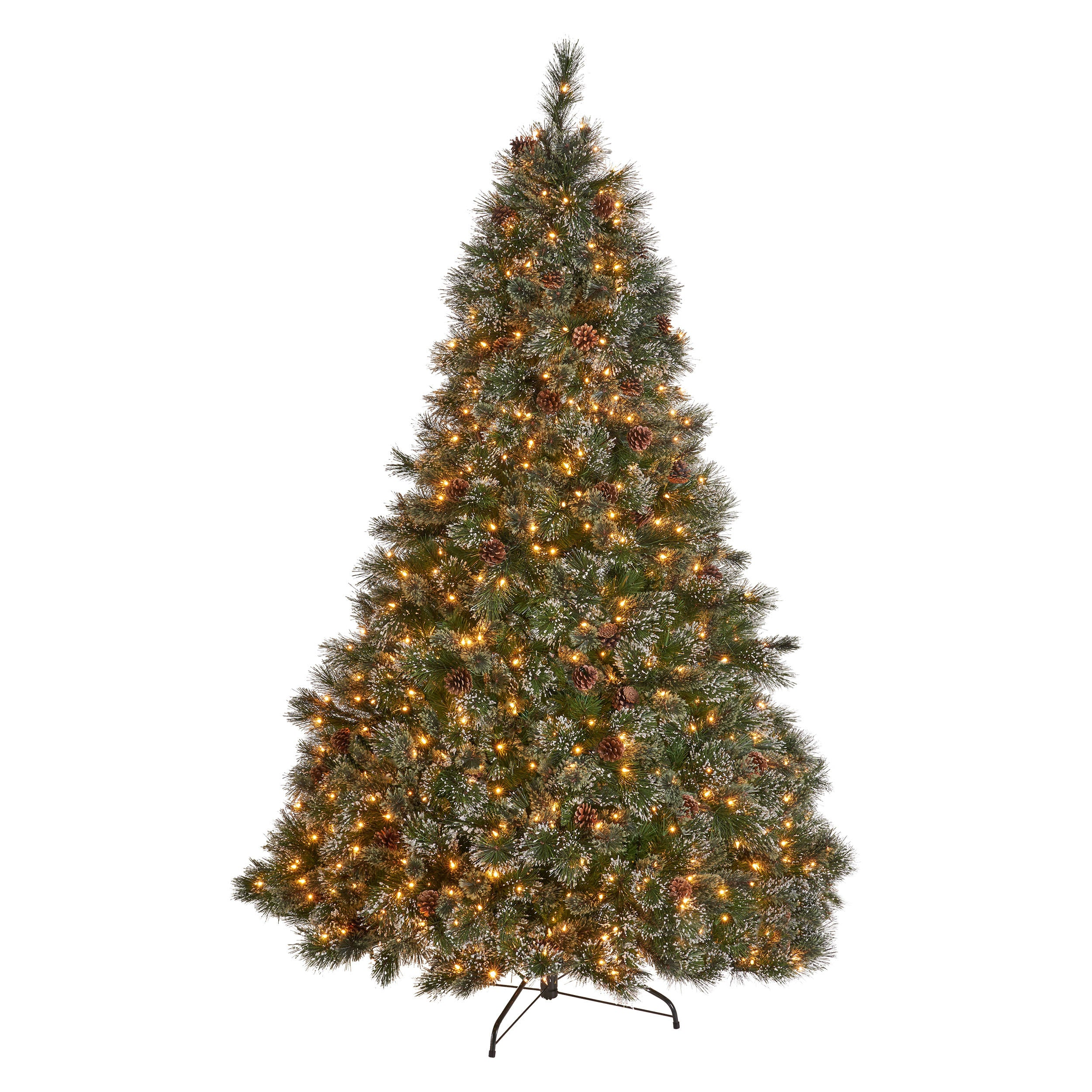 75 foot Cashmere Pine and Mixed Needles Hinged Artificial Christmas Tree with Snowy Branches and Pinecones Multicolor Lights