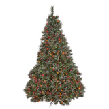7.5-foot Cashmere Pine and Mixed Spruce Pre-Lit or Unlit Artificial Christmas Tree with Snowy Branches and Pinecones