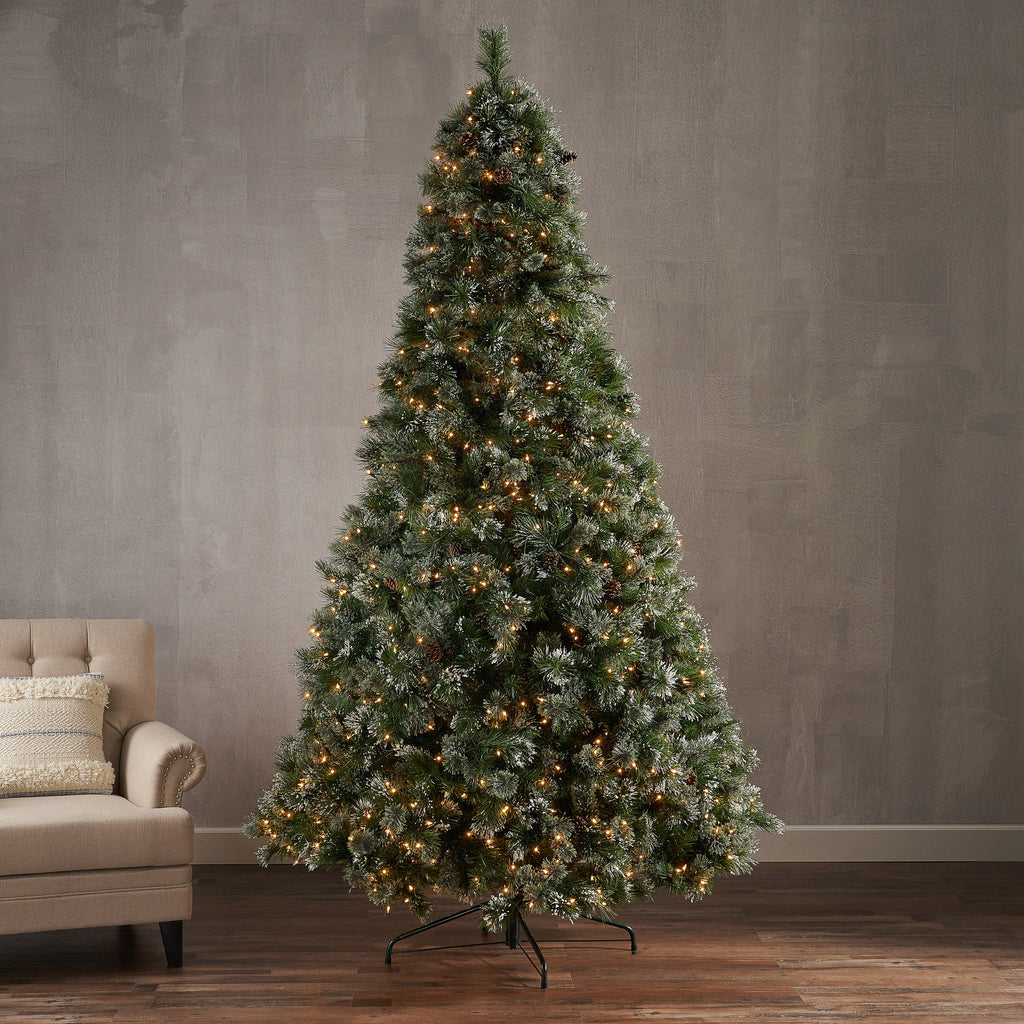 9 Foot Cashmere Pine And Mixed Needles Hinged Artificial Christmas Tre Gdfstudio