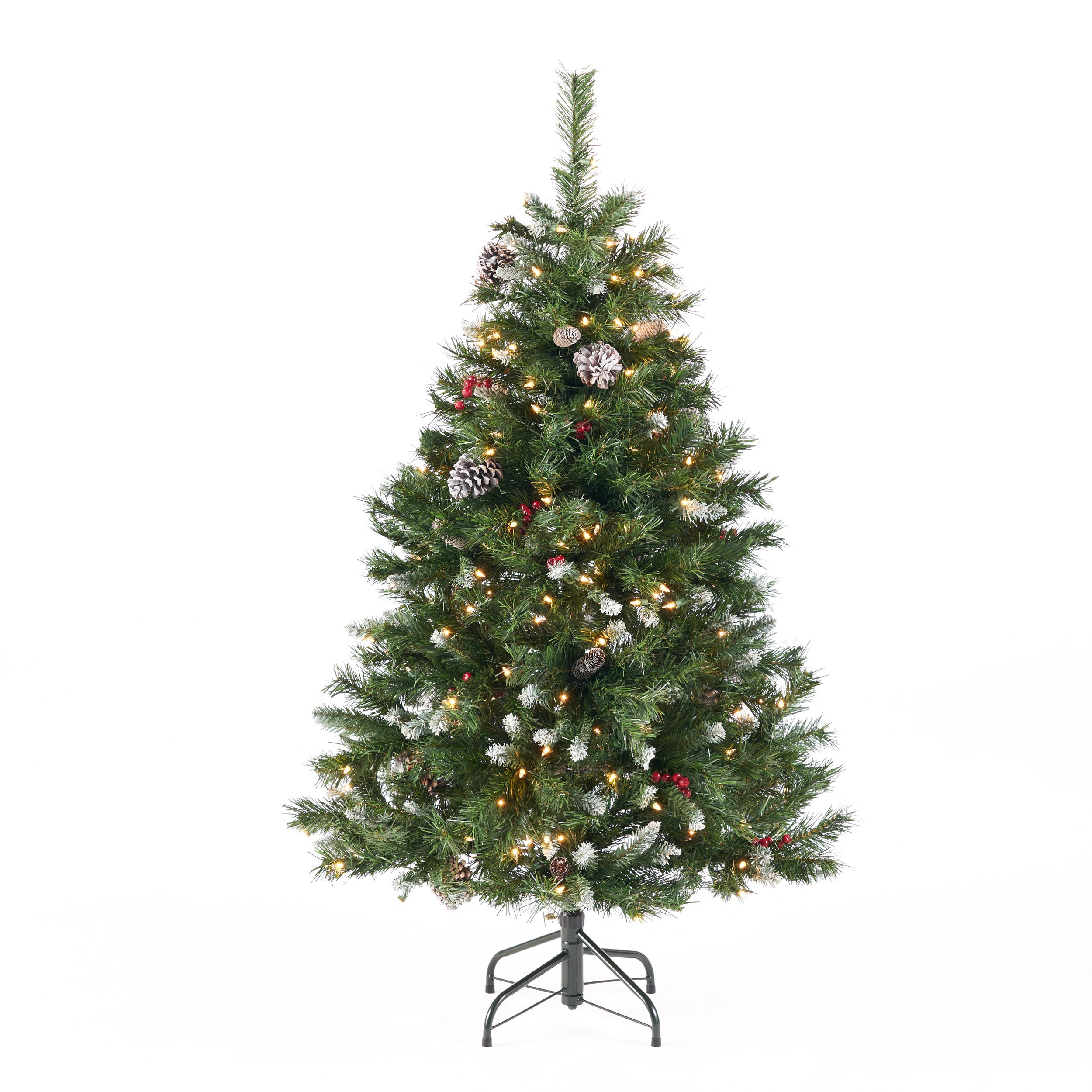 45 foot Mixed Spruce Hinged Artificial Christmas Tree with Frosted Branches Red Berries and Frosted Pinecones Multicolor Lights