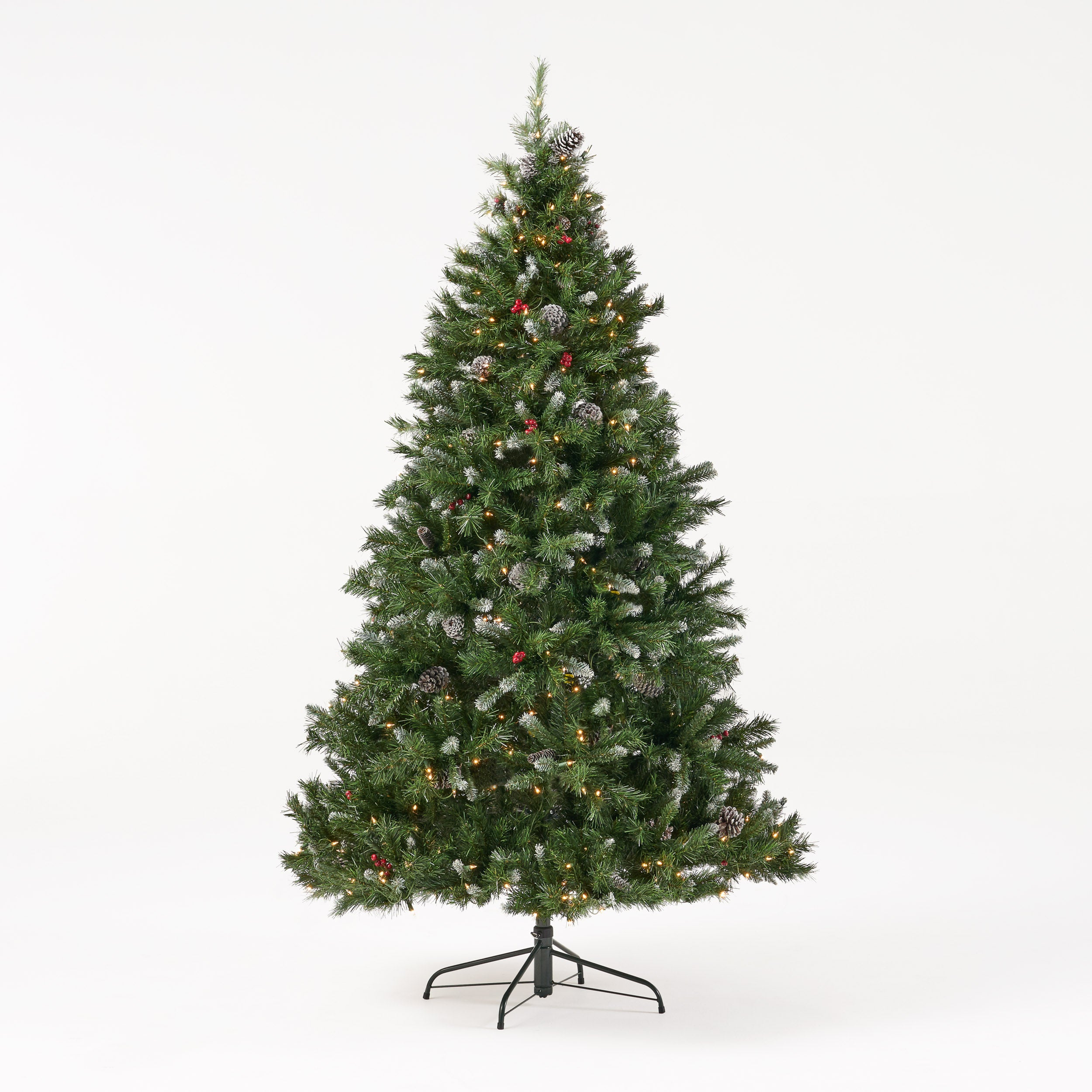 7 foot Mixed Spruce Pre Lit Clear LED Hinged Artificial Christmas Tree with Frosted Branches
